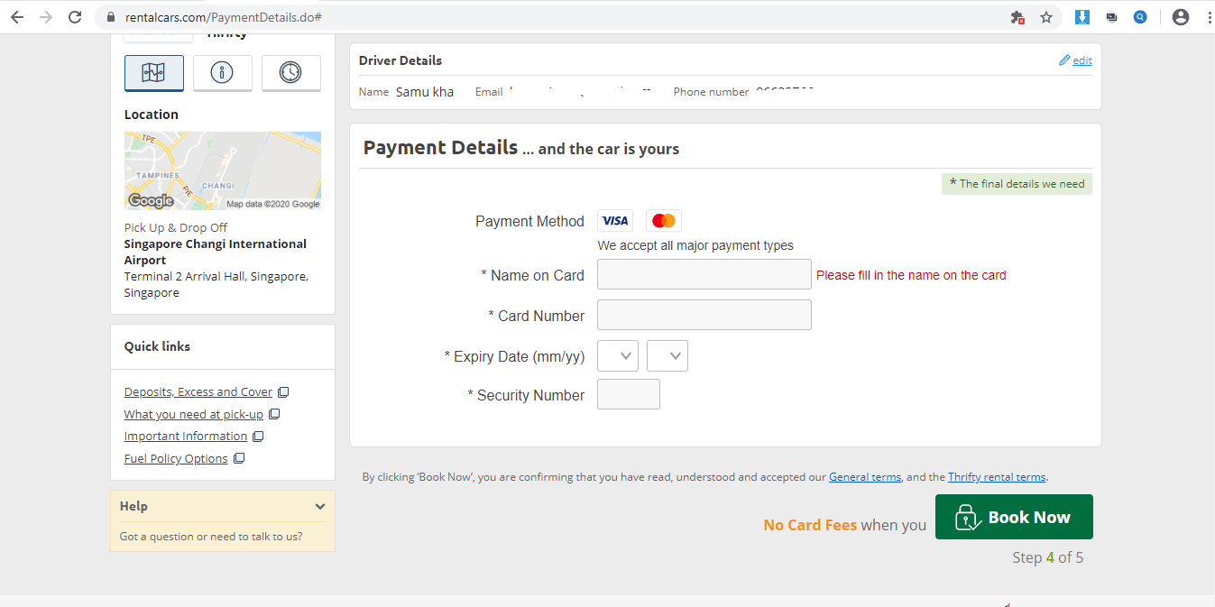Form to enter card details for payment.