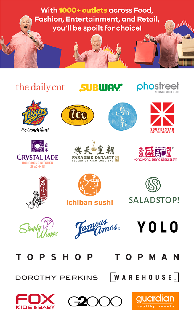 With over 100+ brands across Food, Fashion, Fun & Retail, you'll be spoilt for choice!