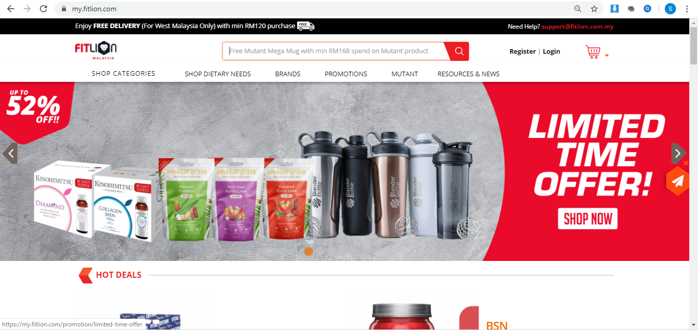 Fitlion website homepage.