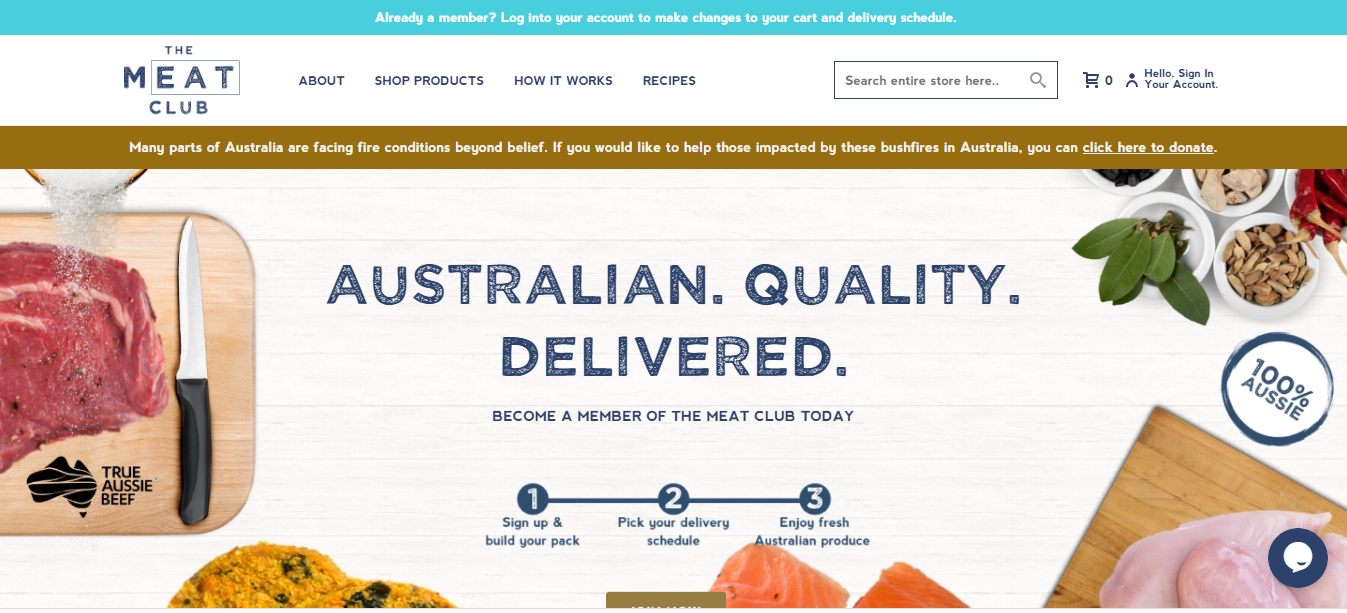 The Meat Club website homepage.
