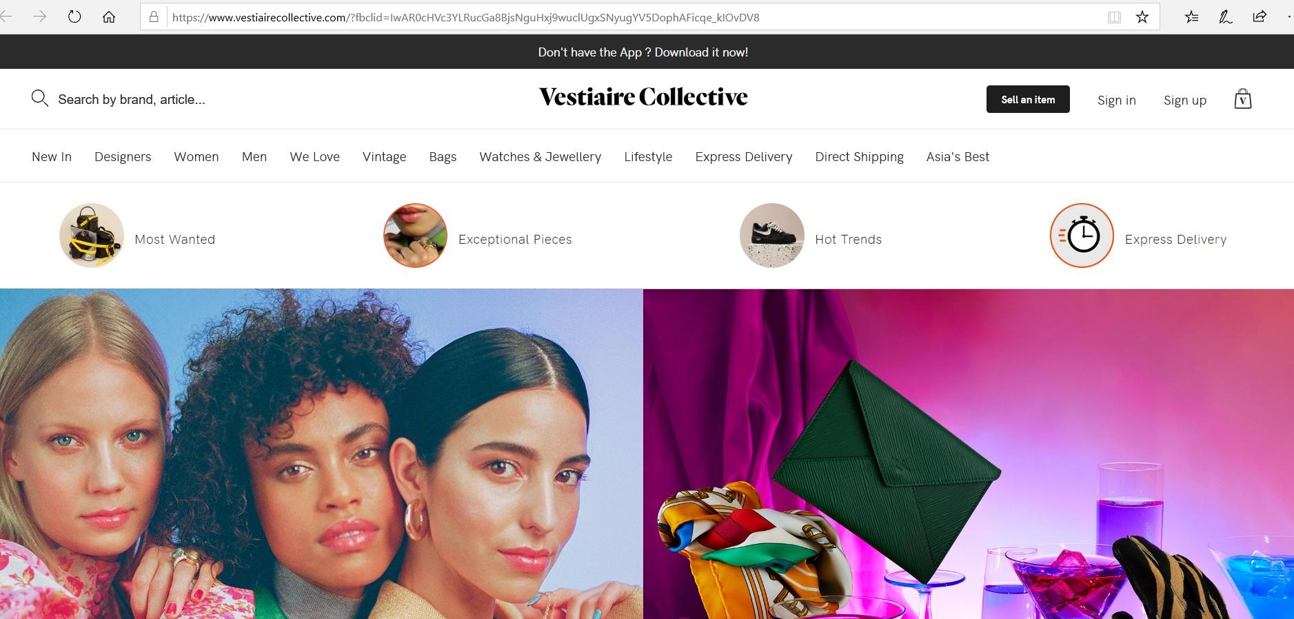 Vestiaire Collective website homepage.