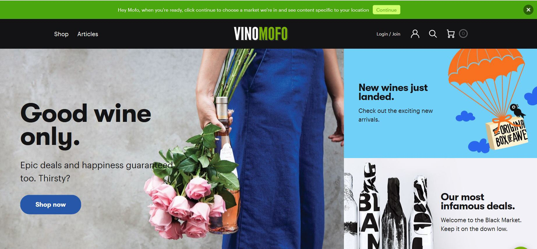 Vinomofo website homepage.