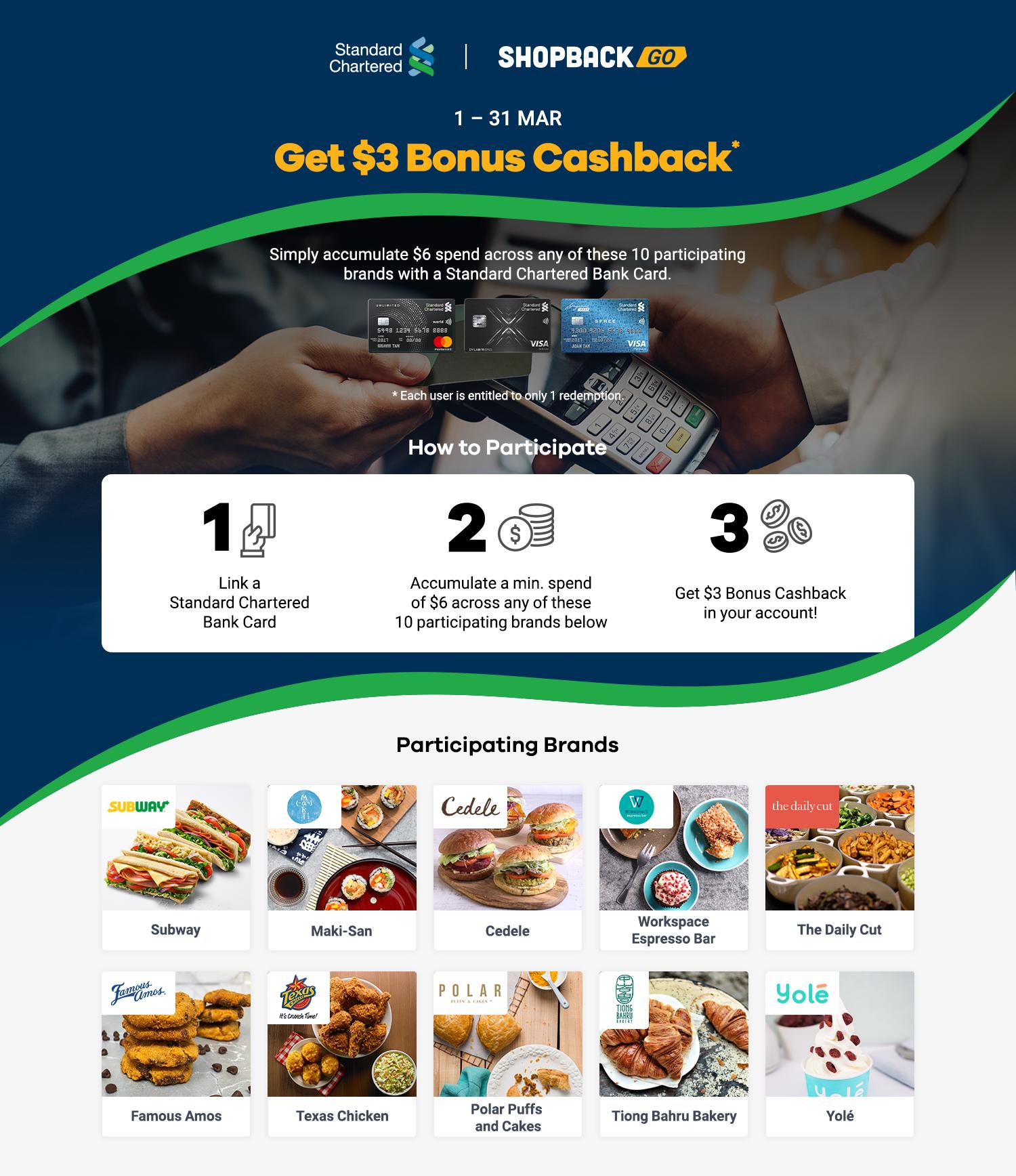 Get $3 Bonus Cashback with your Standard Chartered Bank Card