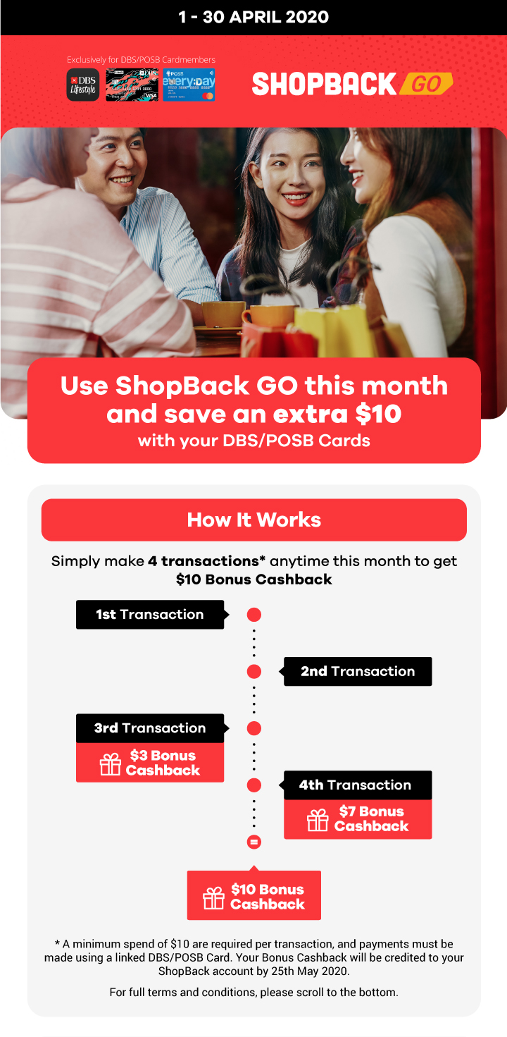 Use ShopBack GO this month and save an extra $10 with your DBS/POSB Cards