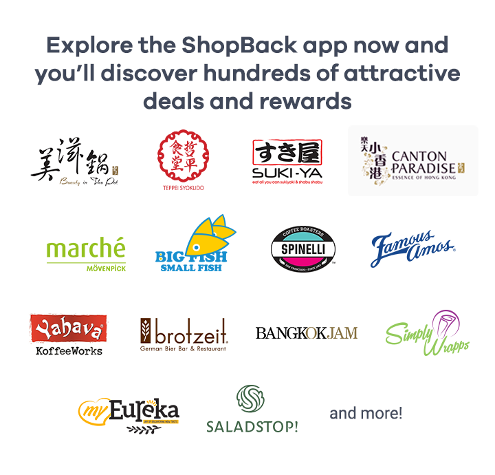 Explore the ShopBack app now and you'll discover hundreds of attractive deals and rewards
