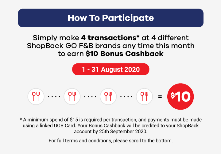 Simply make 4 transactions at 4 different ShopBack GO F&B Brands any time this month to get $10 Bonus Cashback