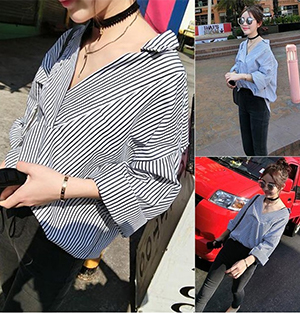 Korean-style striped shirt