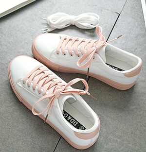 Korean-style white shoes (Pink)