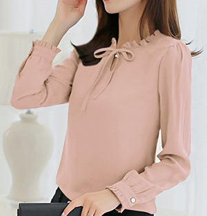 Korean chiffon white shirt (Pink)