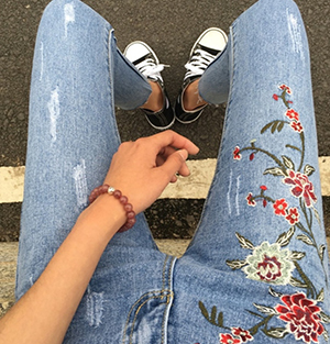 Rose Embroidery Jeans