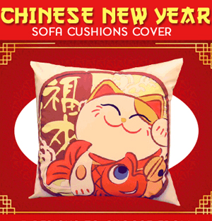 Fortune Cat Cushion Covers