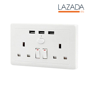 UK Plug 3 USB Ports Wall Outlet With Switch Socket