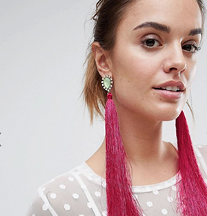ASOS Jewel Stone & Tassel Earrings