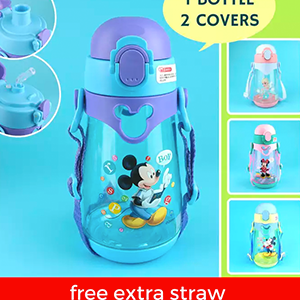 Disney Frozen Kids Water Bottle 2-in-1 Straw and Direct Drink Interchangeable BPA-Free 550ml
