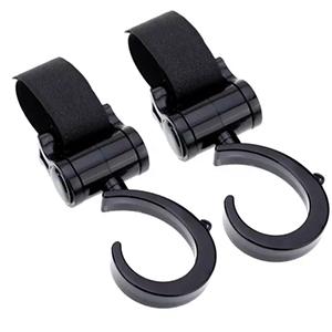 2X Velcro Baby Pram Stroller Pushchair Swivel Hanger Hooks