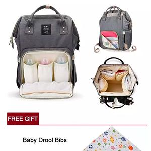 [ Free Baby bib] MUIFA Branded Multifunctional Mummy Backpack Unti-dirty Maternity Nappy Diaper Bag Large Capacity Baby Trav-Grey [ Stock Ready / High Quality ]