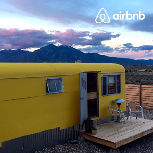 A New Mexican trailer with mountain views
