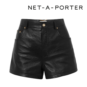 SAINT LAURENT Embellished leather shorts