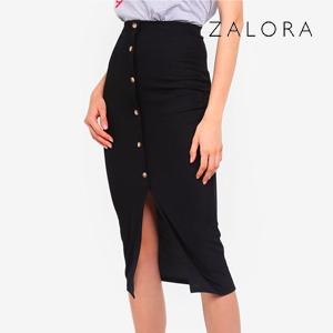 Ribbed Mock Horn Button Through Midaxi Skirt