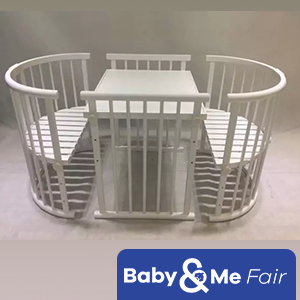 Beblum Sam Crib / Baby Cot PACKAGE*FREE natural coconut fibre LATEX mattress (126x71x5cm)*FREE Beblum round bedding set*FREE delivery & assembly