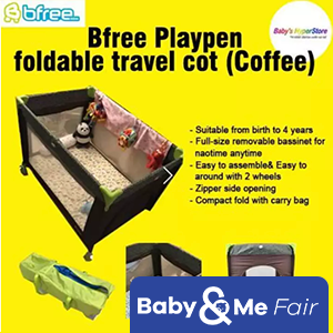 Bfree Playpen foldable travel cot 26x38 with zipper, mosquito net and 2 wheels