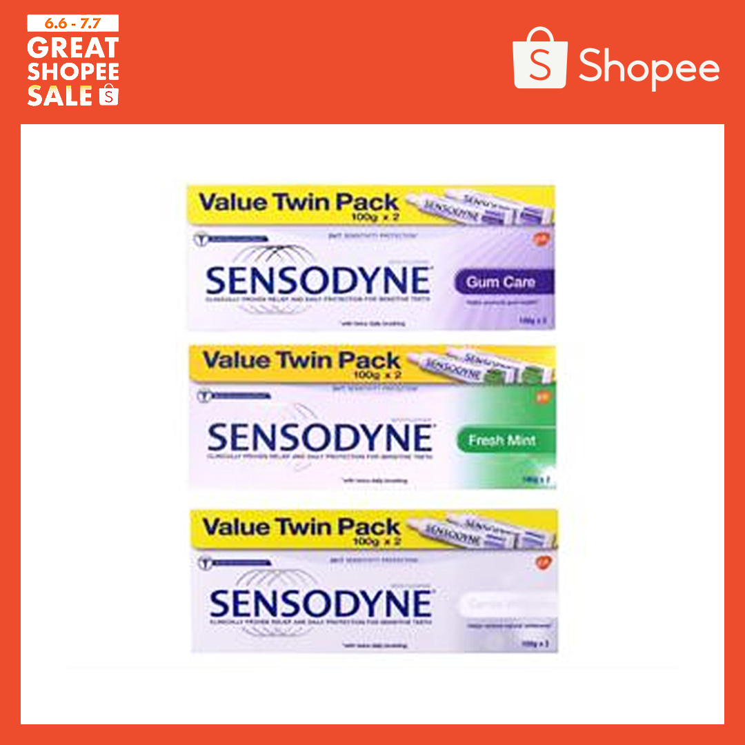Twin Pack Sensodyne Toothpaste (Gentle Whitening/Fresh Mint/Gum Care)