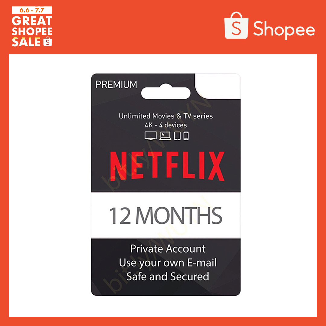 NETFLIX 1 year PREMIUM PLAN physical voucher 4K UHD 4 Device private