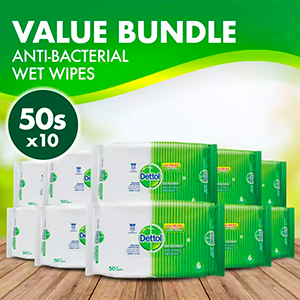 Dettol Anti-Bacterial Wet Wipes 50s (Bundle of 10)