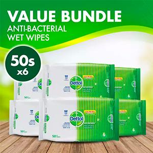 Dettol Anti-Bacterial Wet Wipes 50s (Bundle of 6)