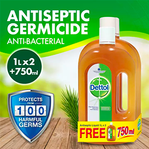 Dettol Antiseptic Germicide 2x 1L + free 750ml