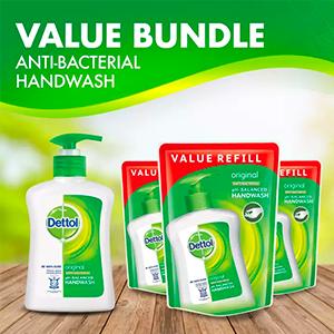 Dettol Original Anti-Bacterial Hand Soap 250ML + Refill Pouch 225ML x 3