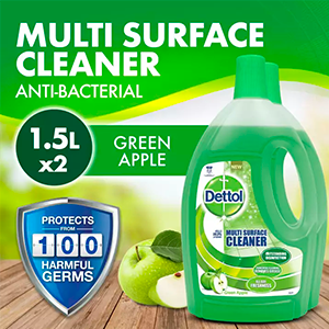 2x 1.5L Dettol 4-in-1 Disinfectant Multi Surface Cleaner Green Apple