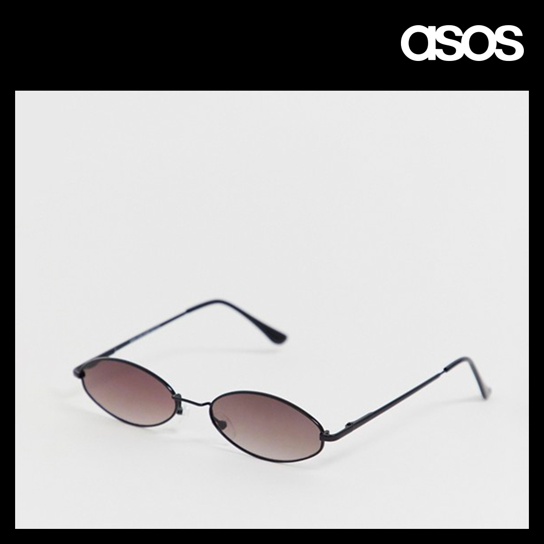 New Look small oval sunglasses in black