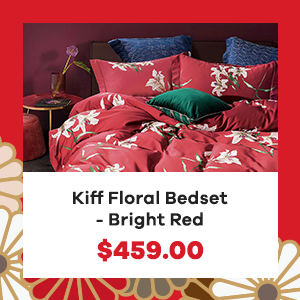 Kiff Floral Bedset - Bright Red