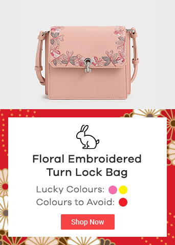 Floral Embroidered Turn Lock Bag