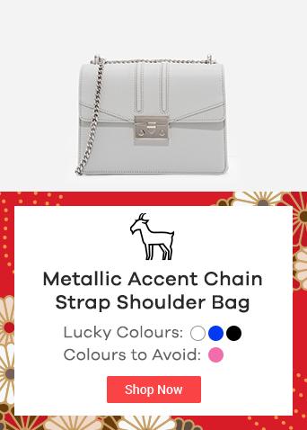 Metallic Accent Chain Strap Shoulder Bag