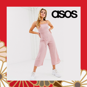 Missguided frill edge culotte jumpsuit in pink