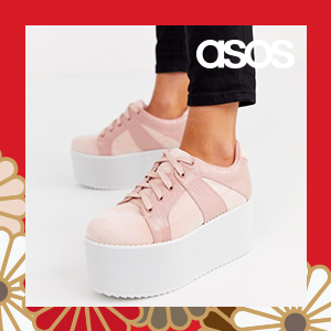 Lost Ink chunky flatform lace up trainer in pink