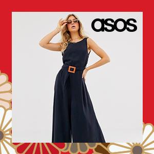 ASOS DESIGN soft denim belted wide leg jumpsuit