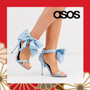 ASOS DESIGN Wide Fit Wellness bow heeled sandals in blue