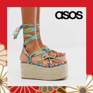 PrettyLittleThing lace up espadrille flatform in turquoise scarf print