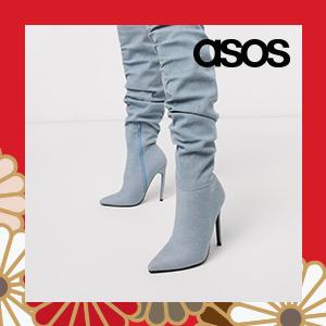 ASOS DESIGN Carlotta slouch stiletto knee boot in denim