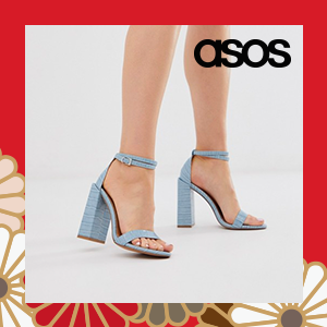 ASOS DESIGN Highlight barely there heeled sandals in blue croc