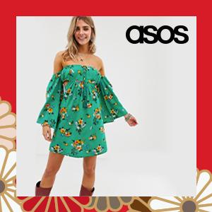 En Creme floral bardot dress with sweetheart neckline