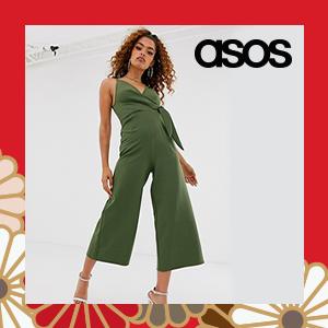 ASOS DESIGN Petite twist front culotte jumpsuit