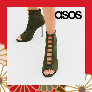 ASOS DESIGN Wide Fit Howling tie leg heeled sandals in khaki