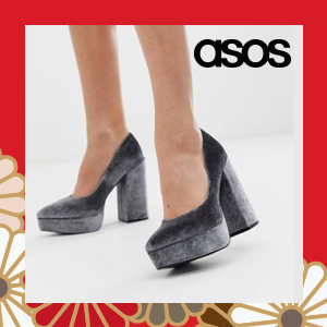 ASOS DESIGN Prime chunky platform high heeled court shoes in grey velvet
