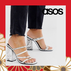 Z_Code_Z Exclusive Nabai white marble square toe block heeled sandals