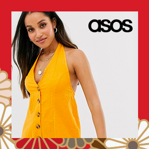 ASOS DESIGN Petite halter playsuit with button detail in self stripe