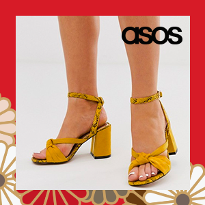 River Island Wide Fit heeled sandals with knot front in yellow